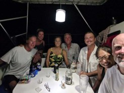 Celebrating the Captain's birthday with crews of S/Vs Orca, Shanti, and Volare at Don Juan, September 2018