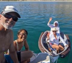 Tigress II doing the dinghy dangle at Coronados near Loreto, June 2020