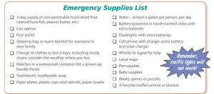 emergency supply checklist for kids