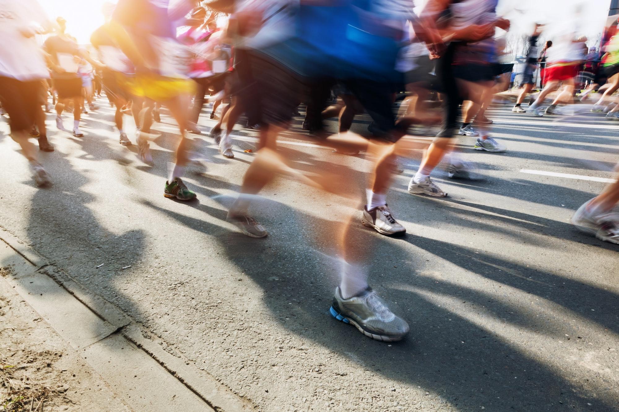 Marathon runners in motion. Running