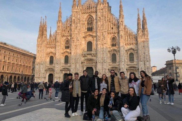 Angela and friends in front of the Duomo di Milano