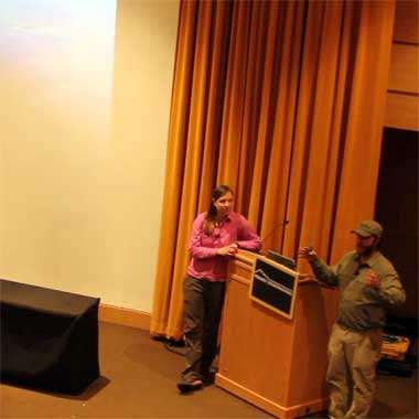 Explorers Dave and Amy Freeman speaking at Midwest Mountaineering