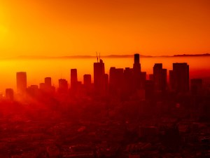 View of Downtown Los Angeles with orange and red hues