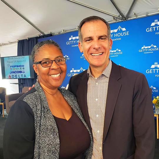 Larcenia L. Freeman with Mayor Garcetti