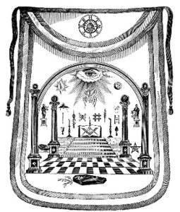 A sketch of George Washington's Masonic apron which features some of Masonry's deep symbolism.