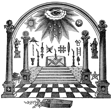 masonic eye, emblems of freemasonry,arch,coffin,square and compass