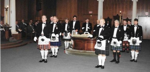 Kilwinning Degree Team performing at Paul Revere Lodge with Bro. Frederic Milliken as Master