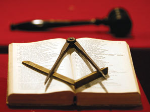 Bible, Square and Compasses and Gavel