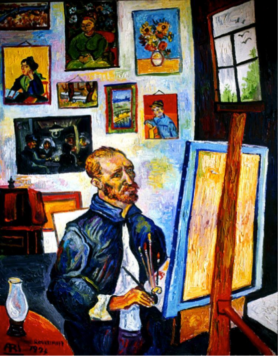 HOMAGE TO VAN GOGH Van Gogh in his studio with Van Gogh's paintings on the wall.