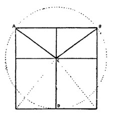 Egyptian squared circle problem (the lines A-C, B-C, and D-C are equal).