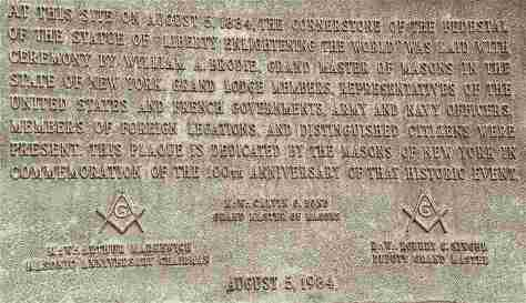 Statue of Liberty Masonic Plaque
