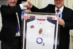 Peter Sparrow receiving his signed shirt from the Master
