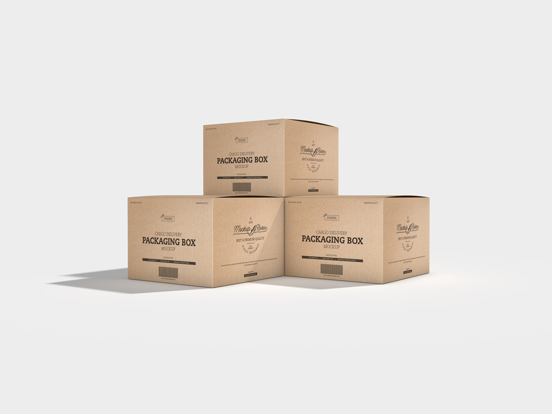 Download Cargo Delivery Packaging Box Free Mockup - FreeMockup.net