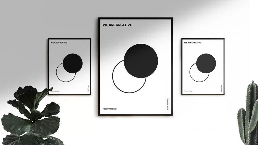 3 free minimal poster mockup freemockup