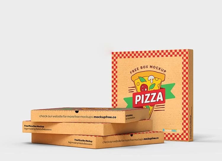 This mockup features a box and a culinary background. Free Pizza Box Mockup Psd Freemockup Net