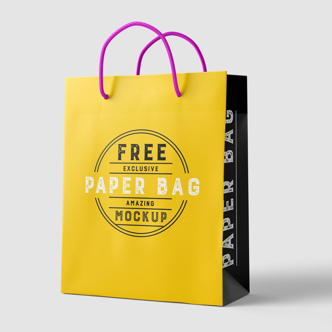 Download Free Beautiful Paper Shopping Bag MockUp Psd TemplateFree ...