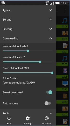 Advanced Download Manager pro settings