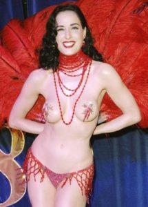 Dita Von Teese wearing nipple stickers