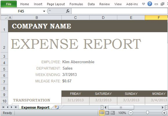 Have your employees submit their business and travel expenses with this expense report form template. Free Expense Report Template For Excel