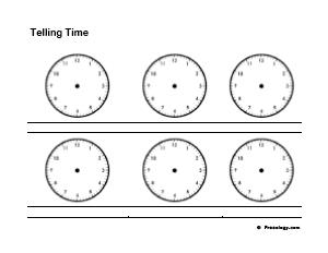 Blank Telling Time Practice Worksheet Freeology