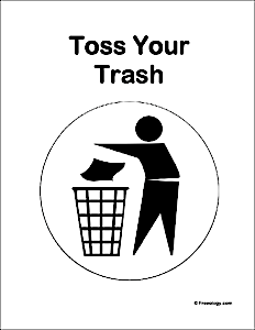 Toss Your Trash Sign Freeology