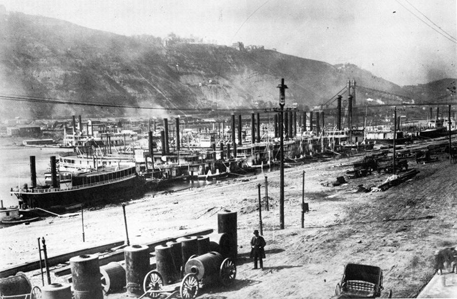 photograph,  Wharf at Pittsburgh, 1890