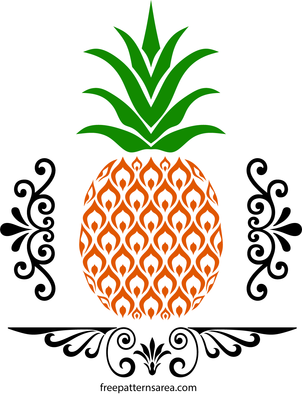 Free Pineapple Stencil Art SVG And Vector Files