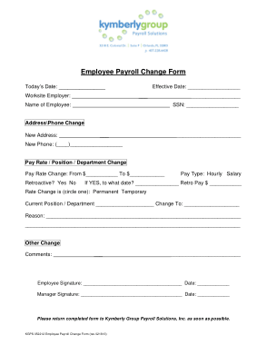 You can use this employee complaint form sample for documenting any complaints. Employee Payroll Change Form Template Free Download Free Pdf Books