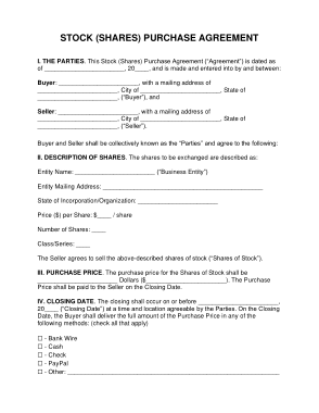 The stock purchase agreements are the contract to transfer ownership of stocks from the seller to the purchaser. Stock Shares Purchase Agreement Form Template Free Download Free Pdf Books