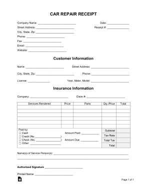 If you have multiple vehicles for your company, maintaining insurance on them can be difficult. Car Repair Receipt Form Template Free Download Free Pdf Books
