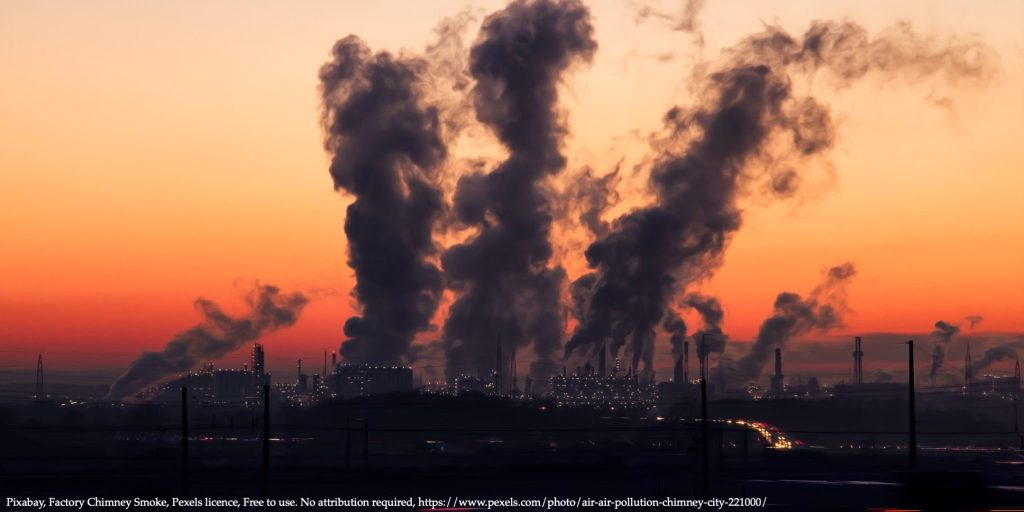 Factory with chimney smoke representing air-quality Eastern Europe