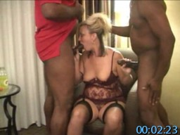 Homemade Amateur Cuckold Video - Sexy Blonde Wife In Lingerie Gets In Threesome With Two Black Studs, Sucking Their Big Cocks And Taking Them In Her Pussy.