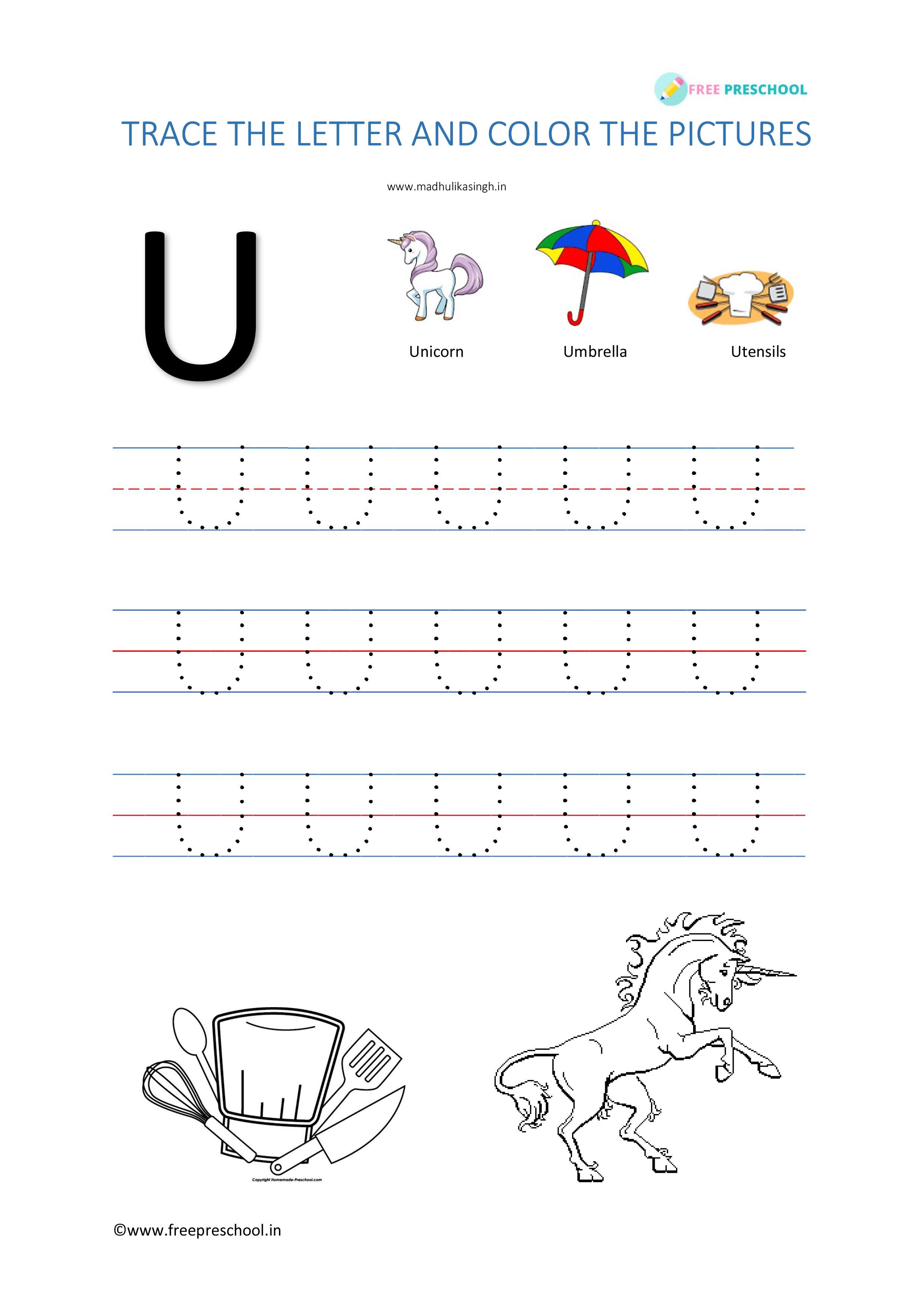 Alphabet Tracing Letter Uu