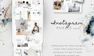 Instagram PUZZLE template-Watercolor
