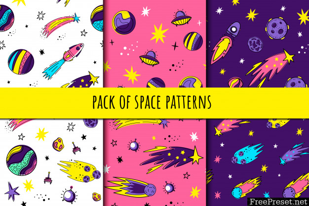Set of seamless space patterns 3978206