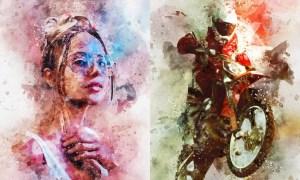 Watercolor Splash Art Photoshop Action UF5J5L