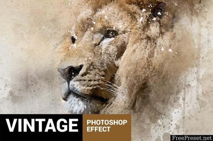 Perfectum - Vintage Watercolor Photoshop Action - J66F94
