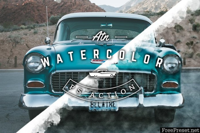 Watercolor and Pencil Action for Photoshop NNB2SQ