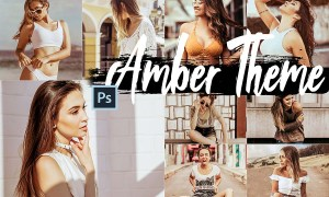 5 Amber Photoshop Actions, ACR and LUT presets