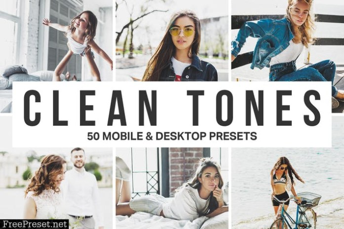 50 Clean Tones Lightroom Presets and LUTs
