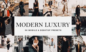 50 Modern Luxury Lightroom Presets and LUTs