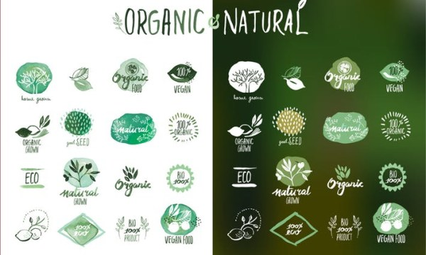 Organic food stickers and badges ZALQEML