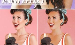 Vintage Paint Style Advertising Effect Mockup 342475313