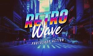 Retro Wave Photoshop Action B78VBQL