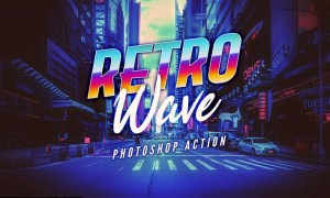 Retro Wave Photoshop Action B78VBQL