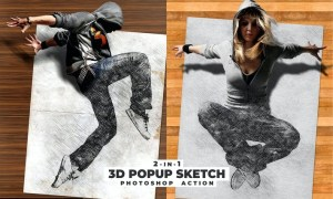 3D Popup Sketch Photoshop Action 8XBBKV8