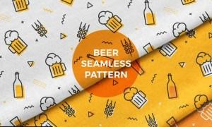 Beer Mug Bottle Seamless Pattern Background TGXQUWR