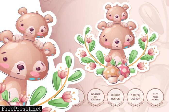 Cute Bear Family Seamless Pattern 8rbhfzl