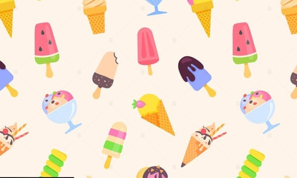 Ice cream - colorful flat design style pattern MD4ATWR
