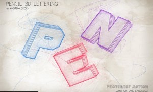 Pencil 3D Lettering - Photoshop Action S9B48BX